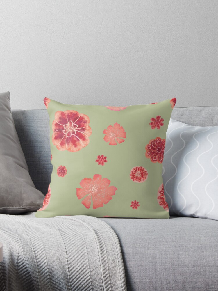 Red flowers on sage green pattern  by Andreea Dumez