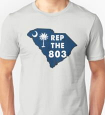 REP THE 803 - POPULAR DISTRESSED DESIGN WITH STATE FLAG AND AREA CODE 803 Unisex T-Shirt