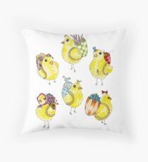 Easter Chicks & Eggshell Baskets Throw Pillow
