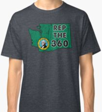 REP THE 360 - POPULAR DISTRESSED DESIGN WITH STATE FLAG AND AREA CODE 360 Classic T-Shirt