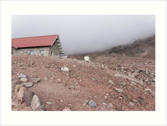 Mountain cabin on misty hillside, Mount Chimborazo, Ecuador by Kendall Anderson