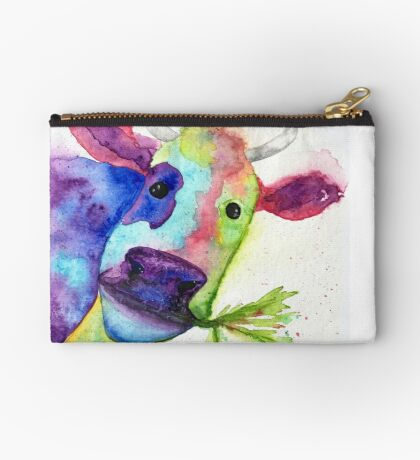 Watercolor Cow named Vanessa Studio Pouch