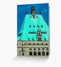 Green-Roofed Stone Building Greeting Card