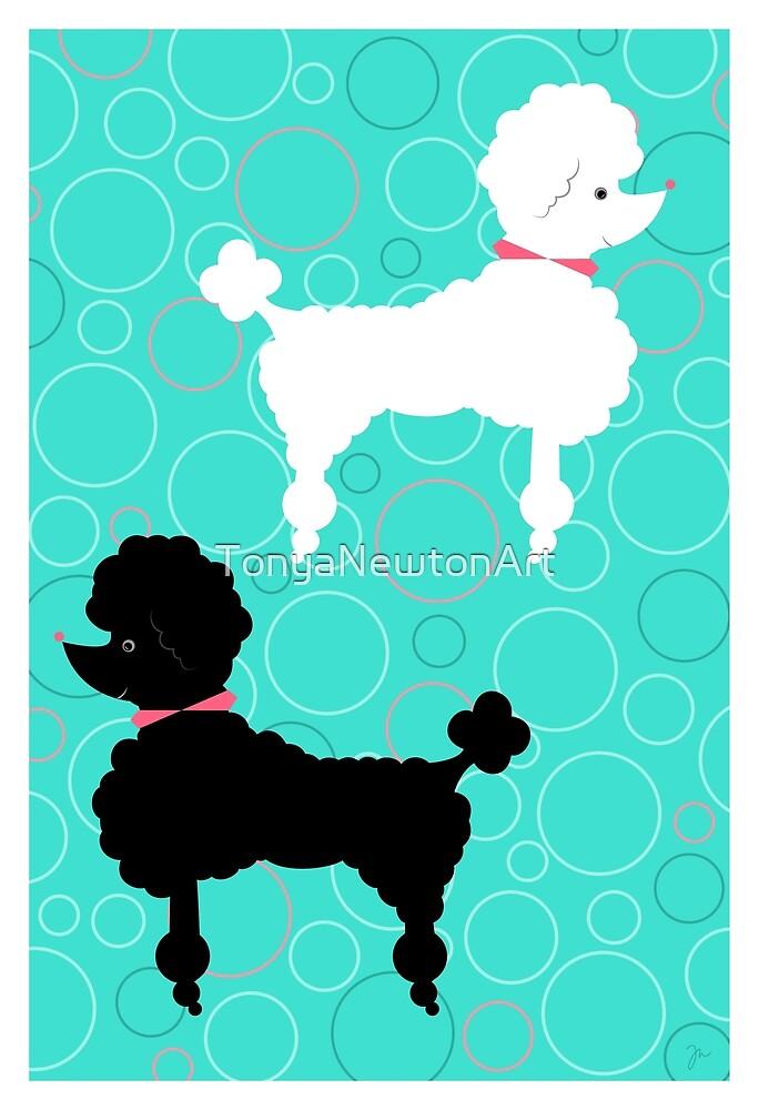Aqua Poodle by TonyaNewtonArt