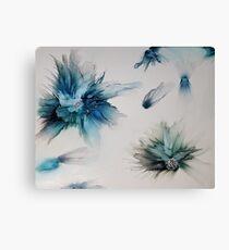 Blue blooms and petals Canvas Print