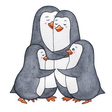 Penguins family. Hug by AllaRi