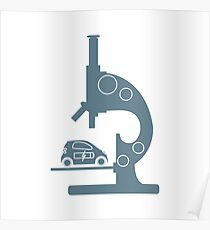 Microscope, electric car. Poster