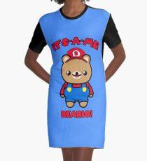 Cute Bear Funny Kawaii Mario Parody Graphic T-Shirt Dress