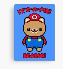 Cute Bear Funny Kawaii Mario Parody Canvas Print