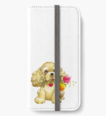 Cute Spaniel with Flowers iPhone Wallet/Case/Skin