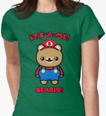 Bear Cute Kawaii Funny Mario Parody Women's Fitted T-Shirt
