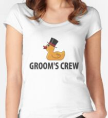 Groom's Crew Rubberducks  - Funny Duck  Gift Women's Fitted Scoop T-Shirt