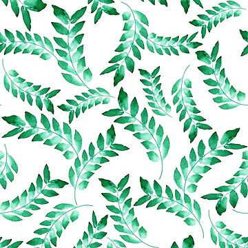 Free-Flowing watercolour Green leaves  by Jime-Creates
