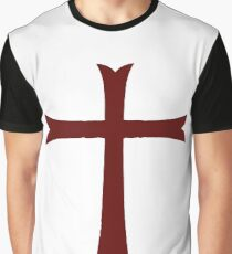 Red Crusader Cross Deus Vult Graphic T-Shirt
