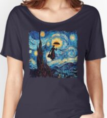 The Flying Lady with an Umbrella Oil Painting Women's Relaxed Fit T-Shirt