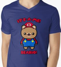Bear Cute Funny Kawaii Mario Parody Men's V-Neck T-Shirt