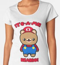 Bear Cute Funny Kawaii Mario Parody Women's Premium T-Shirt
