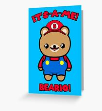 Bear Cute Funny Kawaii Mario Parody Greeting Card