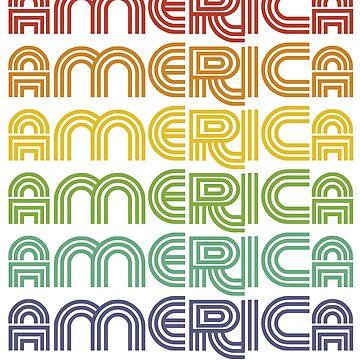 Retro Patriotic America 1970s, 70s, 1970 by DesIndie