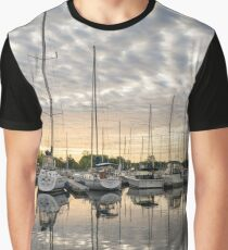 Herringbone Sky Patterns with Yachts and Boats Graphic T-Shirt