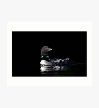 Common loon with shy chick Art Print