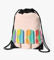 Row of rainbow-colored icecream lollies Drawstring Bag