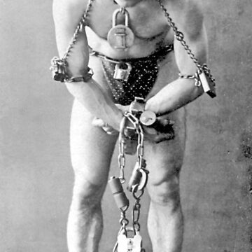 HOUDINI, Harry Houdini, full length portrait, in chains by TOMSREDBUBBLE