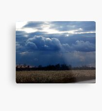 Corn Fields and Storms Metal Print