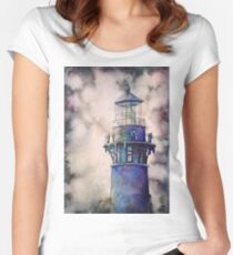 Watercolor painting of Currituck Lighthouse in Outer Banks, NC. Women's Fitted Scoop T-Shirt