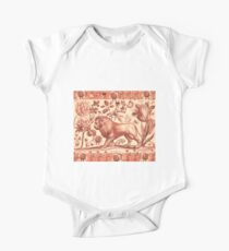 LION,TULIP,ROSE AND BUTTERFLIES ANTIQUE RED PINK FLORAL COLLECTION One Piece - Short Sleeve