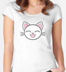 Happy White Kitty Sticker! Women's Fitted Scoop T-Shirt