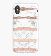MARBLE AND ROSE GOLD STRIPES iPhone Case