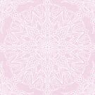 White Mandala on Pale Pink Linen Textured Background by Kelly Dietrich
