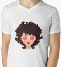 Curly girl with sunglasses Men's V-Neck T-Shirt