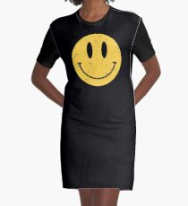 Smiley Face - Smiley Face Emoji- Distressed Vintage Style 90's - Acid House  Graphic T-Shirt Dress