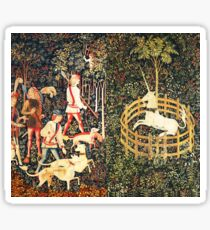 HUNTERS AND UNICORN CAPTURED IN WOOD Green Floral  Sticker