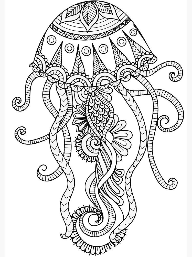 Niedliches Einzigartiges Zentangle Kunst Quallen Haustier Meer Tier Spiralblock