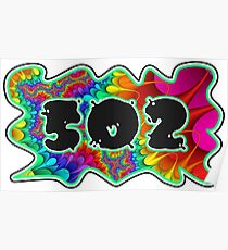 ABSTRACT, GROOVY, AND PSYCHEDELIC 502 DESIGN - VIBRANT COLORS WITH YOUR FAVORITE AREA CODE Poster