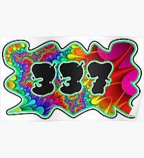 ABSTRACT, GROOVY, AND PSYCHEDELIC 337 DESIGN - VIBRANT COLORS WITH YOUR FAVORITE AREA CODE Poster