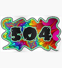 ABSTRACT, GROOVY, AND PSYCHEDELIC 504 DESIGN - VIBRANT COLORS WITH YOUR FAVORITE AREA CODE Poster