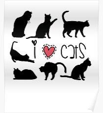 i love cats, kittens, cat design gift idea Poster