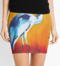 Watchful and Patient Blue Heron Mini Skirt