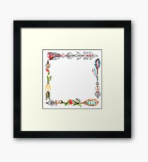 Foursquare  arrows, graphic , tattoo, Watercolor Framed Print
