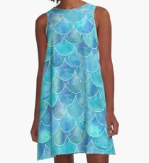 Turquoise Blue Watercolor Mermaid Pattern A-Line Dress