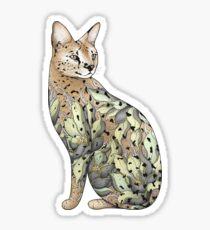 Pegatina Serval Cat en Lotus Flower Tattoo