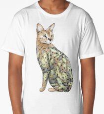 Chat serval dans le tatouage de fleur de lotus T-shirt long