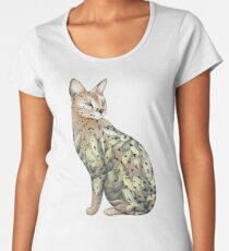 Serval Cat in Lotus Flower Tattoo Women's Premium T-Shirt