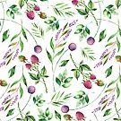 Colorful delicate flowers & berries pattern by artonwear
