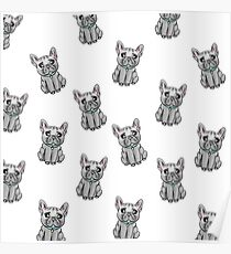 French Bulldogs Pattern - White Poster