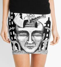 Decision surreal black and white pen ink drawing Mini Skirt